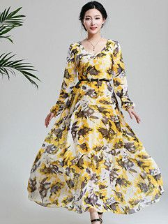 Korea High Quality Dress Floral Pattern Long Sleeve Ball Gown Dress Yellow Chiffon Dress