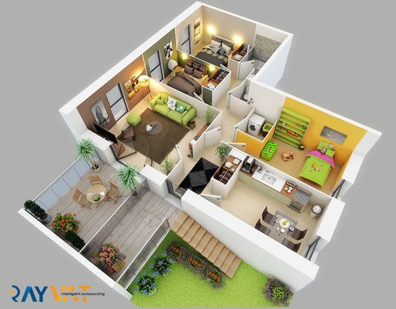 3d Floor Plan Services Architectural 3d Floor Plan Rendering Three Bedroom House Bedroom House Plans Small House Design