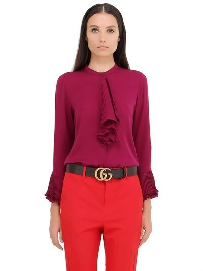 Ruffled Silk Georgette Shirt