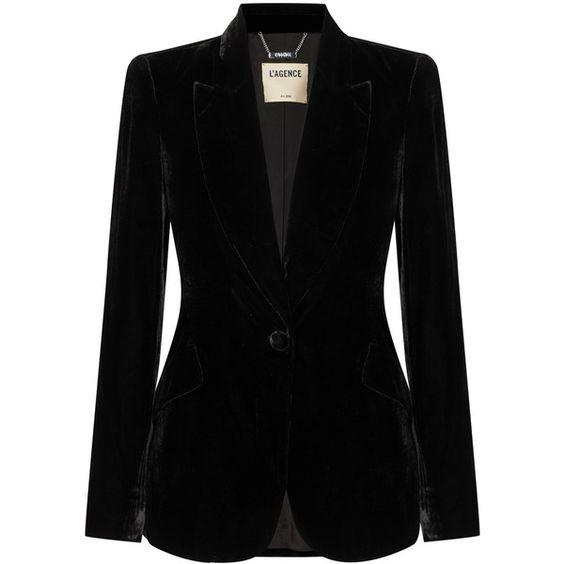 L'Agence Chamberlain velvet blazer (2.775 BRL) ❤ liked on Polyvore featuring outerwear, jackets, blazers, co-ords, blazer jacket, peaked lapel blazer, sparkly blazer, l agence jacket and peak lapel blazer