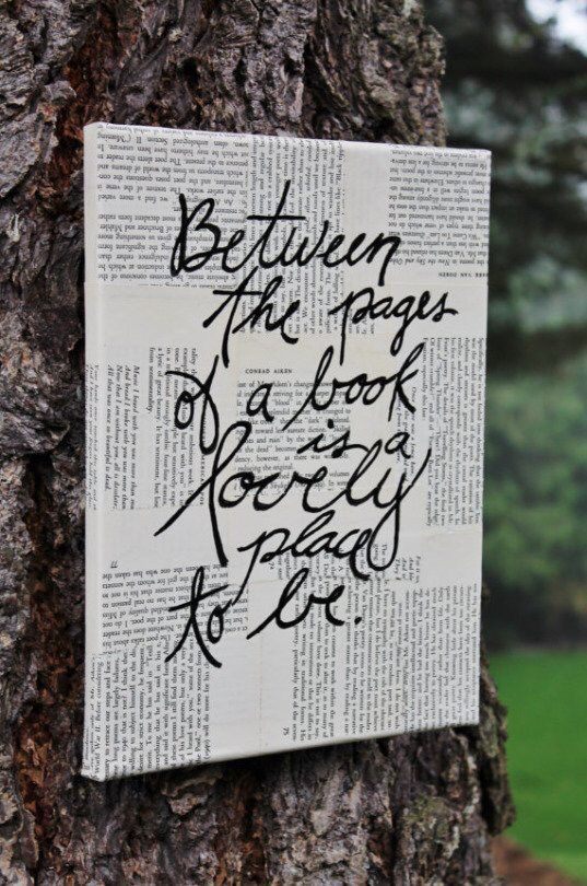 This is so cute for your room or maybe for a friend! I'm assuming all you do is buy a canvas from Michaels and cut out newspaper article or pages from an old book and papermaché them all on the canvas using mod podge. And then paint the saying. Cute DIY