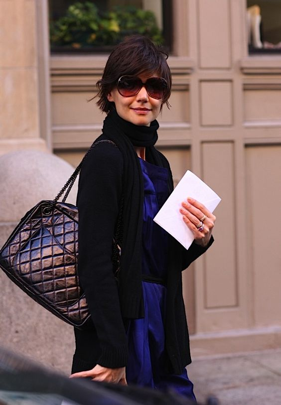 The Many Bags of Katie Holmes, Chanel Quilted Bowler