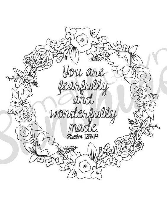 Psalm 139 14 printable coloring page paper crafts for Psalm 139 coloring page