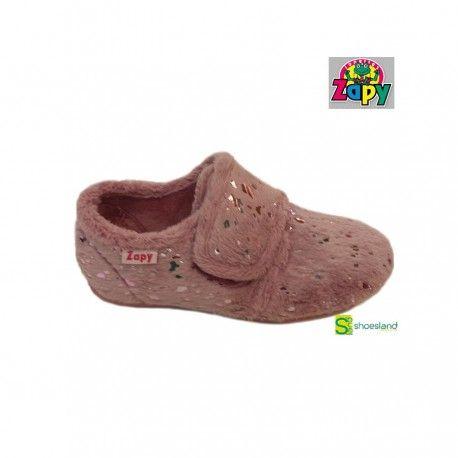 Para las frías noches de invierno zapatillas de casa para niñas cerradas con velcro en suave color rosa con destellos brillantes de Zapy No querrán quitarselas de los pies!! Del 29 al 41