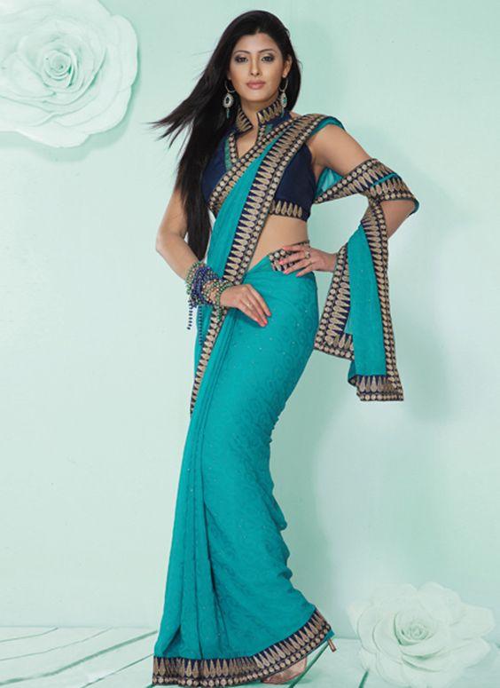 Turquoise Chiffon Jacquard Saree