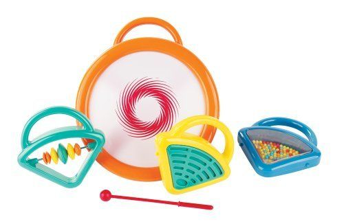 Kidoozie 4-in-1 Drum Set by Kidoozie. $14.60. Every piece features a handle for easy shaking. Easy to take apart for musical fun. 4 instruments in one. From the Manufacturer                Wildly colorful instrument set includes: drum with stick, tambourine, rattle and clacker attachments. All pieces attach to the drum base for easy storage.                                    Product Description                *Wildly colorful instrument set includes: drum with stick,...