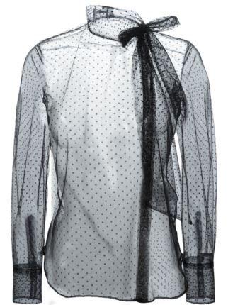 Valentino прозрачная блузка в горошек