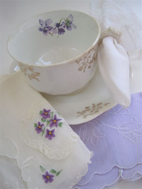 teacup with violets