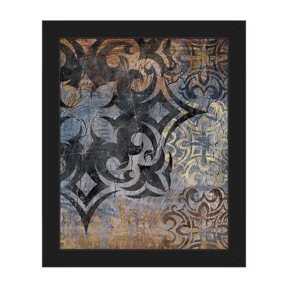 Horizon Grunge Snowflake' Slate Framed Canvas Wall Art