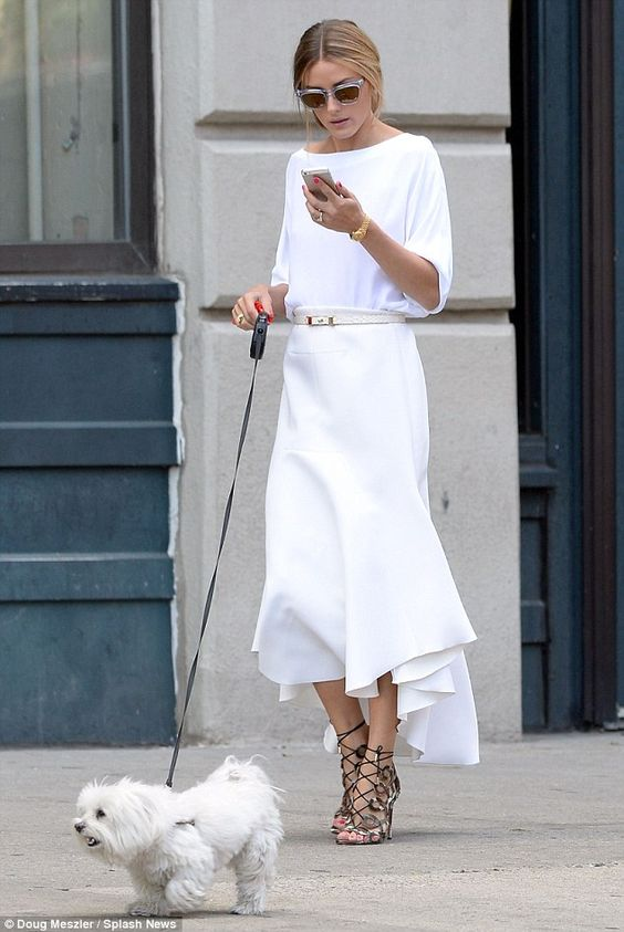 Olivia Palermo   loose bat-sleeve white shirt + flowy midi skirt + strapped snakeskin heeled sandals