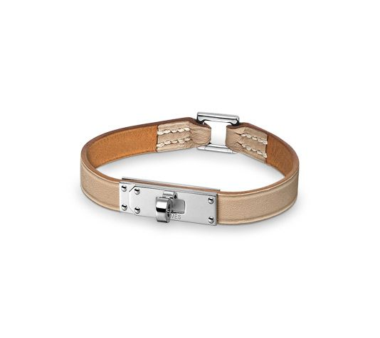 Micro Kelly Hermes micro leather bracelet (size M) Clay grey calfskin Silver and palladium