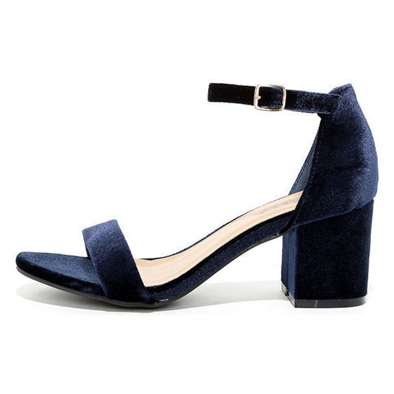 For Real Navy Velvet Ankle Strap Heels ($29) ❤ liked on Polyvore ...