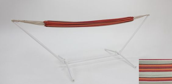 La Serena hammock red and yellow with white steel stand