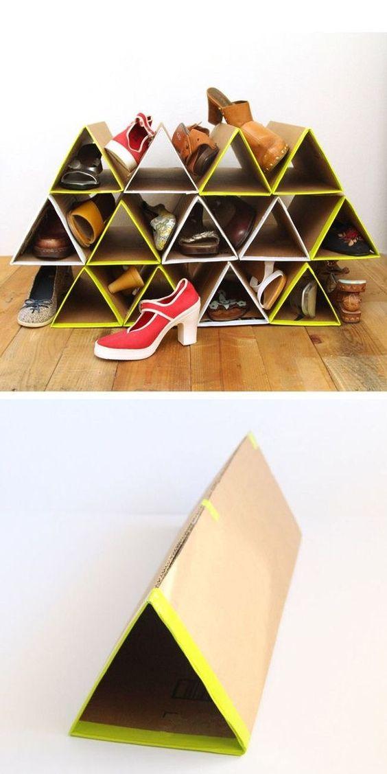 DIY this space-saving cardboard shoe rack. | 16 Shoe Storage Hacks If You Don't…