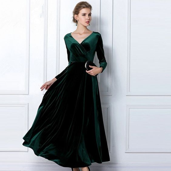 Details about Emerald Green Long Velvet Party Formal Evening Maxi ...