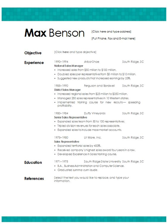 resume template words and aqua on