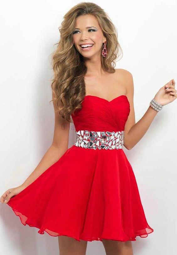 red chiffon prom dress short sweetheart homecoming gowns cheap ...