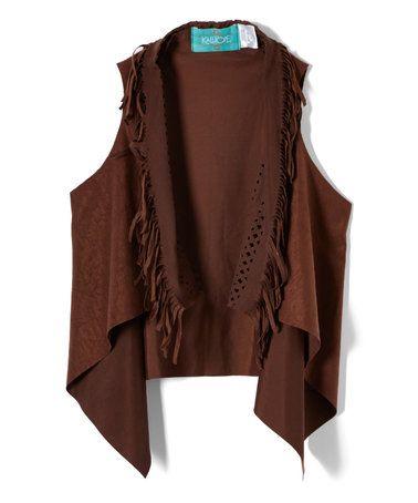 Another great find on #zulily! Brown Fringe Lattice Vest - Girls #zulilyfinds