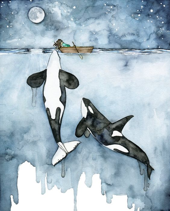 Watercolor Whale and Girl Painting  Print by TheColorfulCatStudio