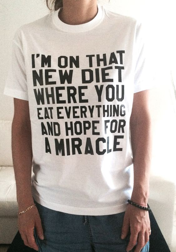 Welcome to Nalla shop :)  For sale we have these great Im on that new diet t-shirts!   With a large range of colors and sizes - just select your