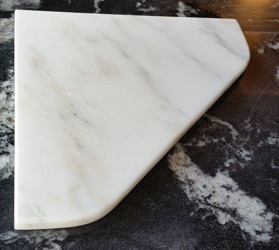"Marble Shower Corner Shelf (Carrara Bianco) 8"" Natural Stone Bathroom Caddy Bath Soap Dish"