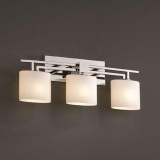3 Light Opal Oval Polished Chrome Bath Bar Fixture