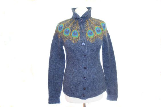 "The knitted sweater cardigan ""Peacock Feather"" /knit cardigans/ knitted sweater / knitted cardigan /  sleeved with fingerless mittens/ OOAK. $215.00, via Etsy."