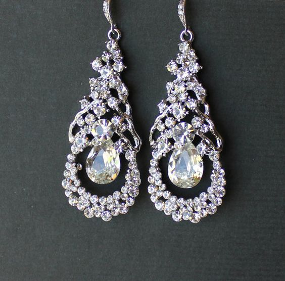 Crystal Bridal Earrings Bridal Chandelier Earrings by JamJewels1, $65.00