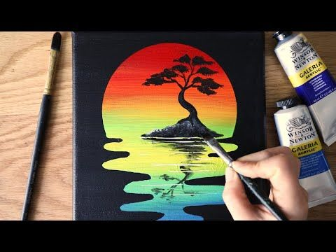 Easy And Simple Painting Tutorial A Tree Landscape Acrylic For Beginner Black Canvas Art Beginners