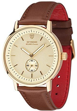 DETOMASO Milano Classic Men's Quartz Watch with Gold Dial Analogue Display and Brown Leather Bracelet Dt1072-D