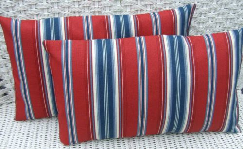 Set of 2 Pillow Covers Red White Blue Patriotic Nautical