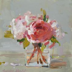 ❀ Blooming Brushwork ❀ - garden and still life flower paintings - Laura Shubert | Peonies in Glass