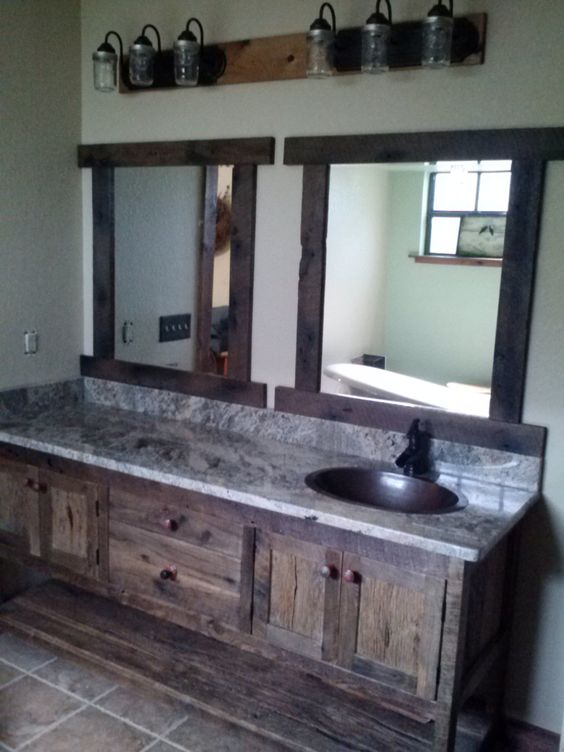 Your custom made rustic barn wood double vanity with 4 for Diy wood vanity