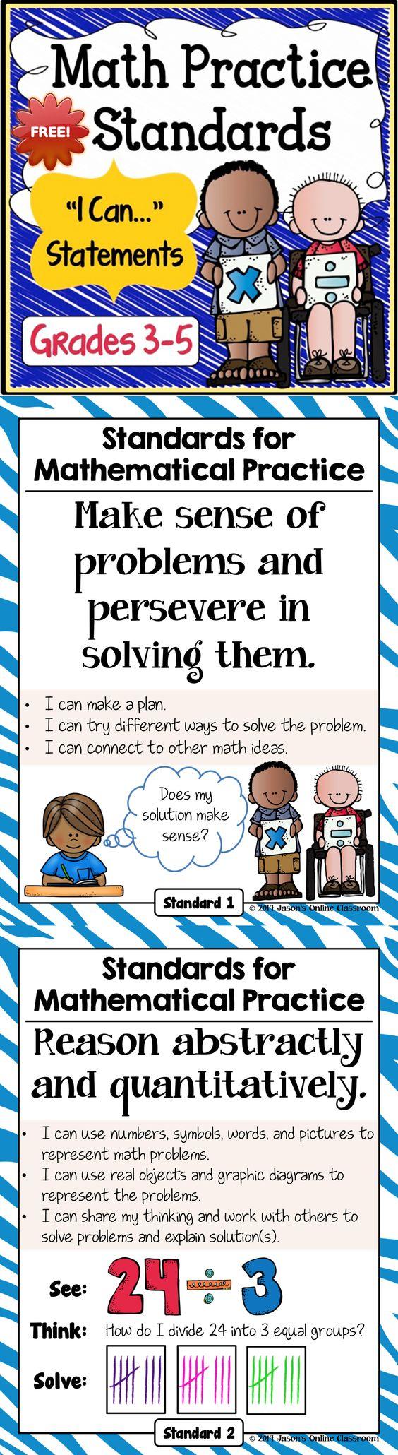 FREEBIE - Math Practice Standards for Grades 3-5