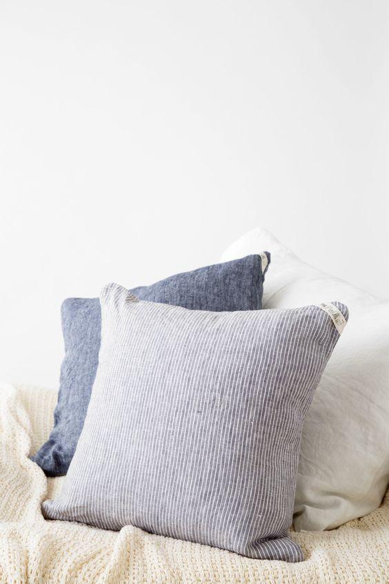 cushion cover: grey thin white stripe
