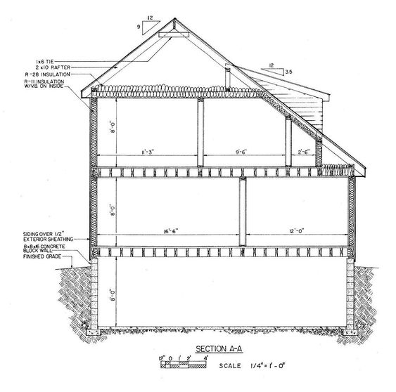 Saltbox saltbox home cross section saltbox house for House foundation plan