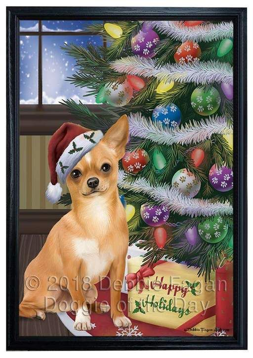 Christmas Happy Holidays Chihuahua Dog With Tree And Presents Framed Canvas Print Wall Art Fcvs146923 Dog Canvas Art Christmas Animals Christmas Dog