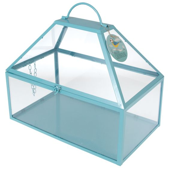 DotComGiftShop | Large Greenhouse Hinged Roof Blue | Geschenke | Home | Wohnaccessoires