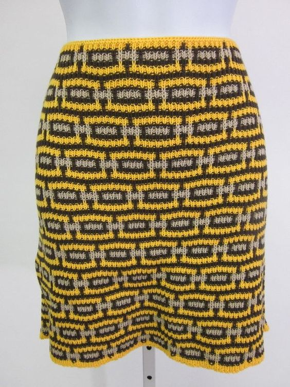 PRADA Yellow Brown Beige Cotton Geometric Print Knee Length Skirt Sz 40 at www.ShopLindasStuff.com