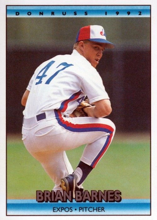 Random Baseball Card 2480 Brian Barnes Pitcher Montreal Expos 1992 Donruss Baseball Expos High School Baseball