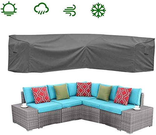 Best Seller Covolo Waterproof Patio V Shaped Sectional Furniture Cover L Shaped Premium Outdoor Lounge Porch Sofa Covers Garden Couch Protector 100 Lx33 5wx31h In 2020 Gray Patio Furniture Furniture Covers Sectional Furniture