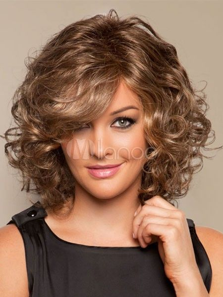 Fashion Wig Charm Women'S Medium Long Brown Blonde Curly Natural Hair Wigs