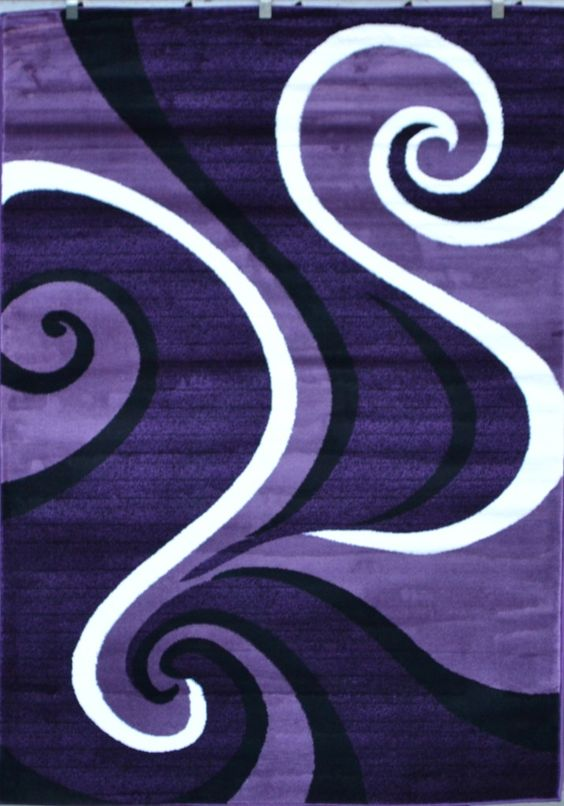 Details About 0327 Purple Black White Modern Abstract