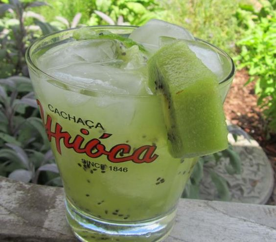 Kiwi Caipirinha (Drink made with the Brazilian liquor, Cachaca: can subsitute white rum or vodka).