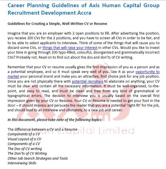 Career Planning Guidelines of Axis Human Capital Group Recruitment - resume components