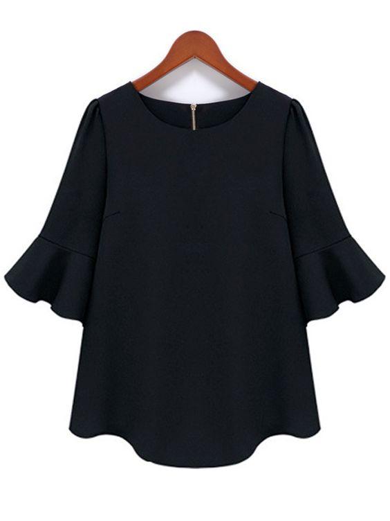 Plus Size Women Ruffles Sleeve O Neck Black Chiffon Blouse