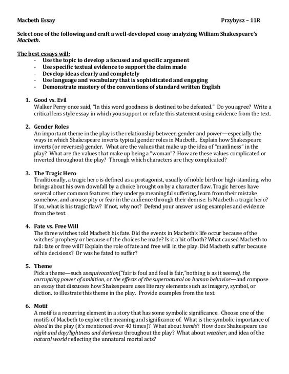 Tragedy Essay  Underfontanacountryinncom Essay Tragedy Macbeth Concept Of Tragedy In Macbeth Sample Essays