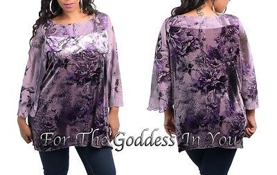 T187 LAVENDER RHINESTONE VELOUR SHEER SLEEVE FLORAL TUNIC TOP WOMENS PLUS SZ- 2X