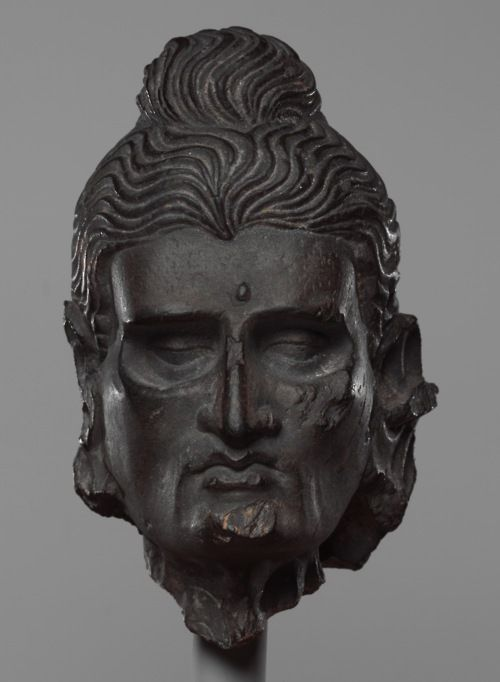 Head of the Fasting Siddhartha. Gandhara (i.e. Pakistan), ca 3rd-5th Century. (via The Metropolitan Museum of Art)