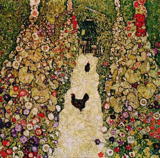 Garden Path With Chickens In 2020 Gustav Klimt Art Bird Poster